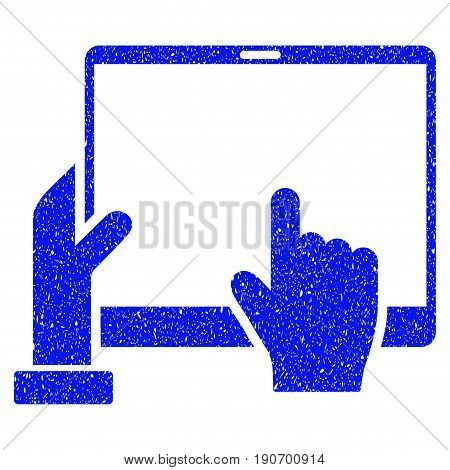 Grunge Hand Points PDA icon with grunge design and unclean texture. Unclean vector blue pictogram for rubber seal stamp imitations and watermarks. Draft emblem symbol.