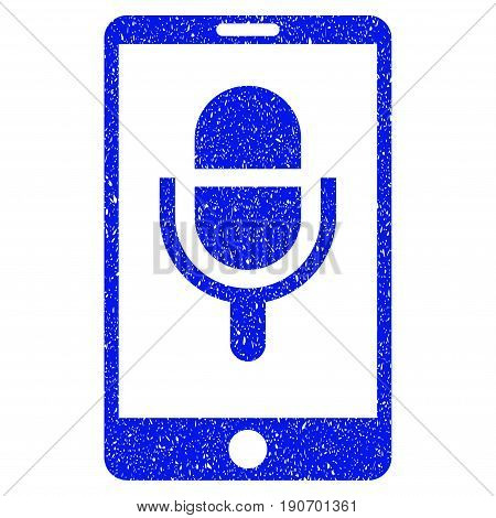 Grunge Phone Microphone icon with grunge design and unclean texture. Unclean vector blue pictogram for rubber seal stamp imitations and watermarks. Draft sign symbol.