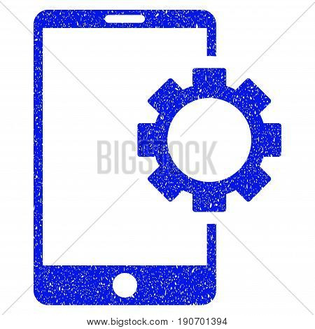 Grunge Phone Setup Gear icon with grunge design and dirty texture. Unclean vector blue pictogram for rubber seal stamp imitations and watermarks. Draft sticker symbol.