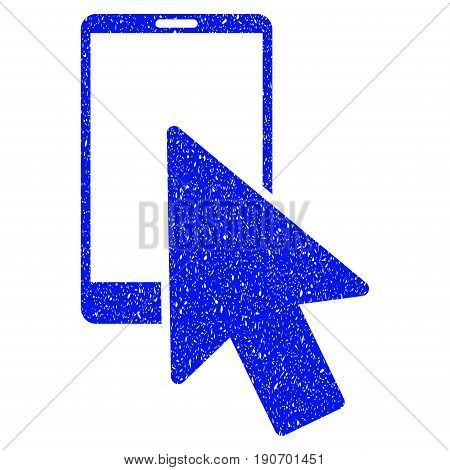 Grunge Smartphone Arrow Pointer icon with grunge design and dust texture. Unclean vector blue pictogram for rubber seal stamp imitations and watermarks. Draft sticker symbol.