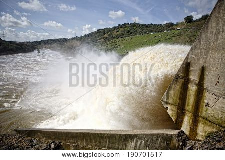 Spillway In The Reservoir Of San Rafael De Navallana, Near Cordoba, Andalusia, Spain