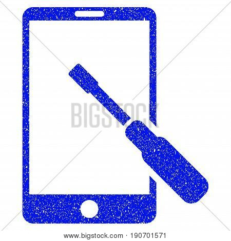 Grunge Smartphone Tuning Screwdriver icon with grunge design and unclean texture. Unclean vector blue pictogram for rubber seal stamp imitations and watermarks. Draft sign symbol.