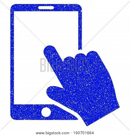 Grunge Touch Smartphone icon with grunge design and unclean texture. Unclean vector blue pictogram for rubber seal stamp imitations and watermarks. Draft sign symbol.