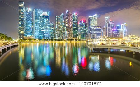 Panorama front views of the river Singapore financial district and business building at night Singapore City
