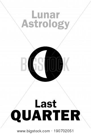 Astrology Alphabet: Last QUARTER of MOON (Lunar phase). Hieroglyphics character sign (single symbol).