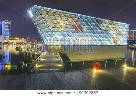 SINGAPORE - APRIL 22 2017: Louis Vuitton store a luxury shop designed by architect Peter marino located in Marina Bay Singapore City