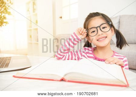 Smile Girl Holding Glasses Reading A Books