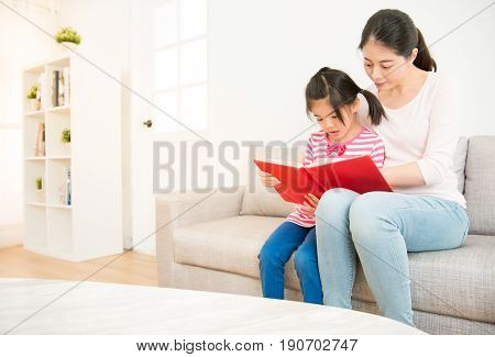 Mother And Daughter Reading Story Book