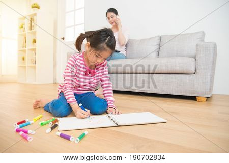 Mother Working And Kids Draw