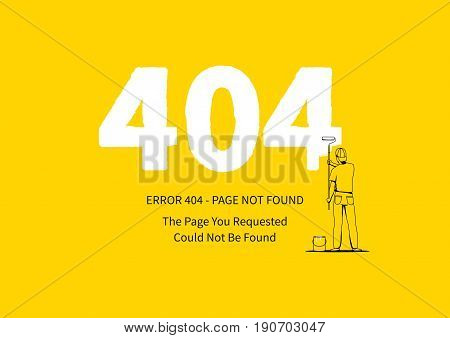 Error 404 page with a painter vector illustration. Broken web page graphic design. Error 404 page not found creative template.