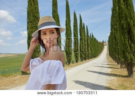 Girl in tuscany. Italian holiday