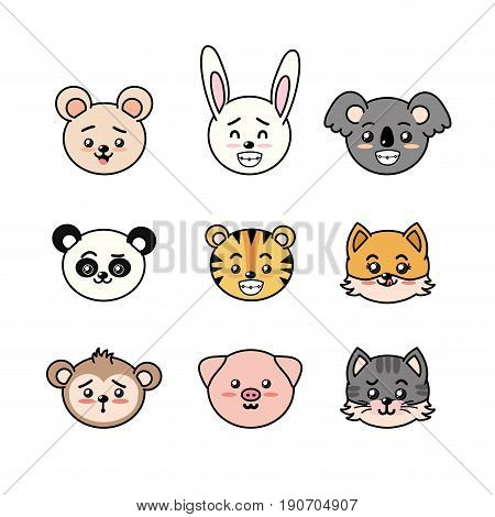 set cute and tender animals with expressions vector illustration