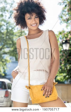 Girl With Afro Posing, Smiling.