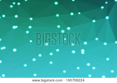 Turquoise shades abstract low poly geometric background with defocused lights