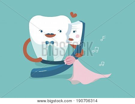 Gentleman tooth is dancing with lady toothbrush ,teeth and tooth concept of dental