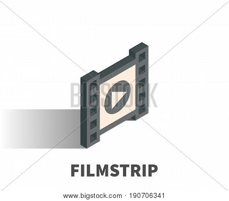 Filmstrip Icon, Vector Symbol In Isometric 3D Style Isolated On White Background.
