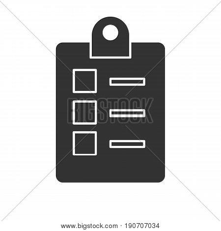 Checklist icon. Silhouette symbol. Negative space. Vector isolated illustration