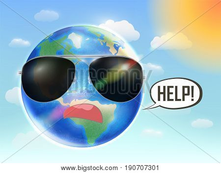 Planet earth globe need help from global warming