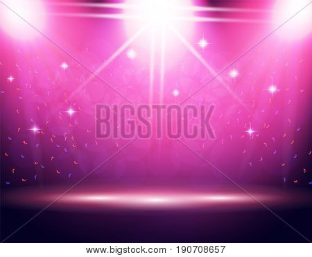 Illumination of the stage, podium, Three projectors from different directions. Confetti is flying. Purple background. Vector illustration