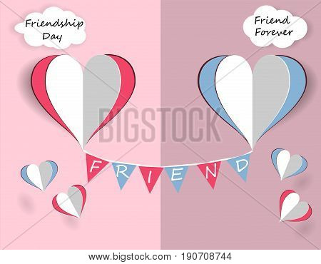 Children's card for friendship day. Hearts of friends are flying. Vector illustration