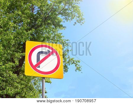 Street road sign with a right arrow, prohibiting right turn to the right