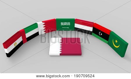 3d rendering of some country of middle east flags with qatar country flag on the floor. as Saudi Arabia Egypt Bahrain the UAE Yemen eastern Libya and Mauritanie have to banned or boycott Qatar concept.