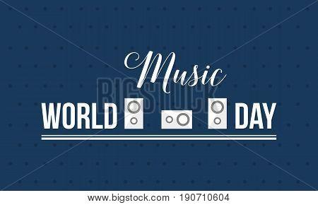 World music day style banner vector flat illustration
