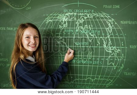 Young Student in Uniform with Chalk Board