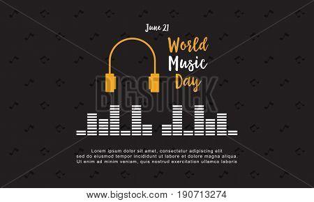 Background world music day style vector art illustration