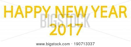 happy new year 2017 with yellow flower font
