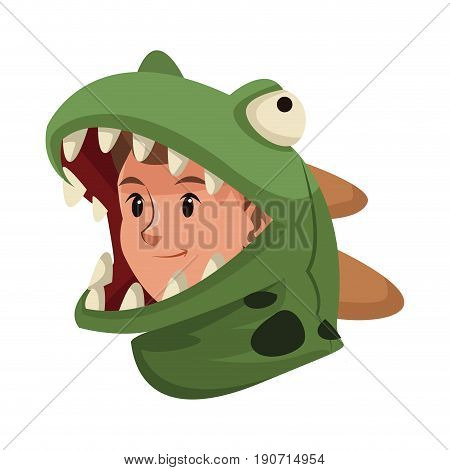 boy teenager in a suit dinosaur halloween vector illustration