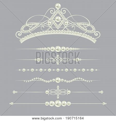 white realistic pearl dividers set collection with diadem isolated on grey background. vector illustration. design elements and page decor