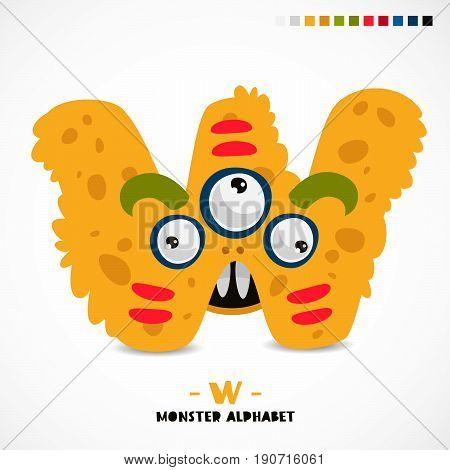 Monster alphabet. The letter W. Strange animal. Vector illustration on white background. Great children's print. The concept of a kid's toy.
