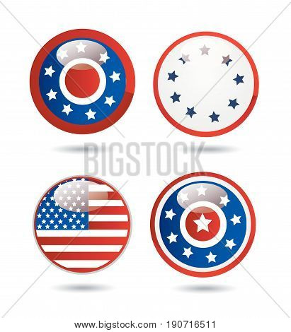 United States Flag Glossy Buttons vector illustration
