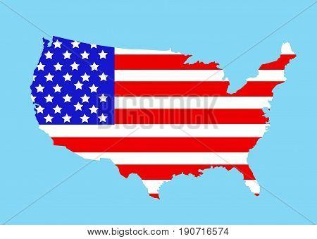 USA map illustration on blue background design