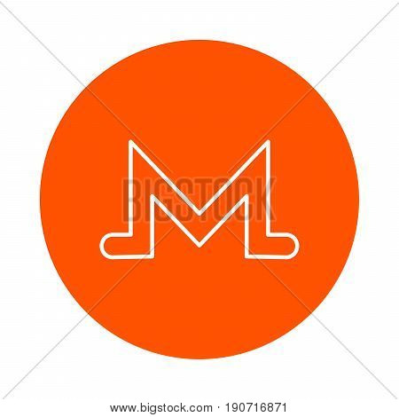 Symbol of digital crypto currency Monero vector monochrome round icon.