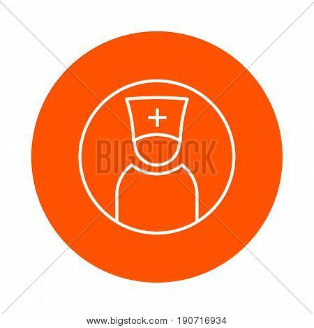 Priest or doctor in head-dress with cross vector single-colored round linear icon.