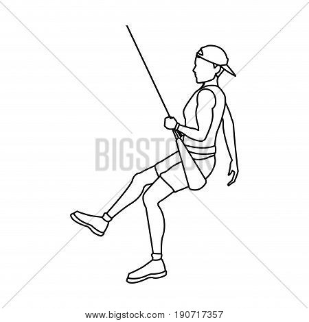 young male climber hanging on a rope vector illustration