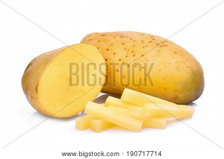 Potato with stick isolated on white background.
