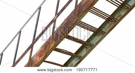 the rusty iron ladder on white background