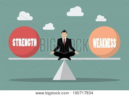 Balancing between strength and weakness. Vector illustration