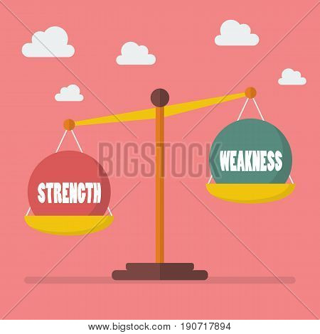 Strength and weakness balance on the scale. Vector illustration