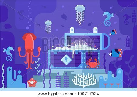 Open gold chest on seabed on underwater world background. Hunting for pirate water treasure under the sea vector concept illustration. Coral reef scene with sea life including jellyfish and squid.