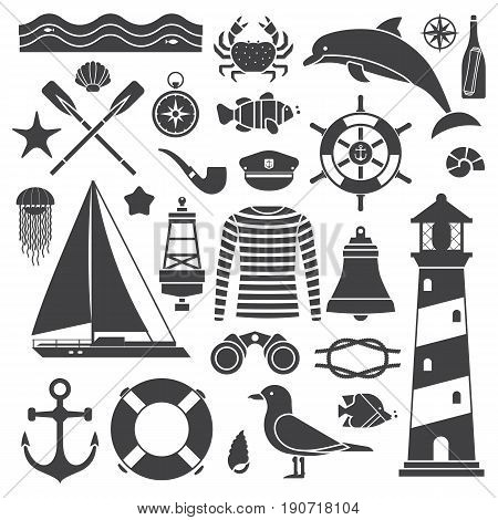 Sea travel icon set. Nautical vector elements collection. Marine adventure equipment. Captain cap, lighthouse, dolphin, sailing ship, anchor, seagull, crab, compass and other sea symbols. Marine trip.