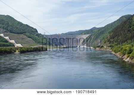 Sayano-Shushenskaya Hydro Power Station on the River Yenisei in Russia
