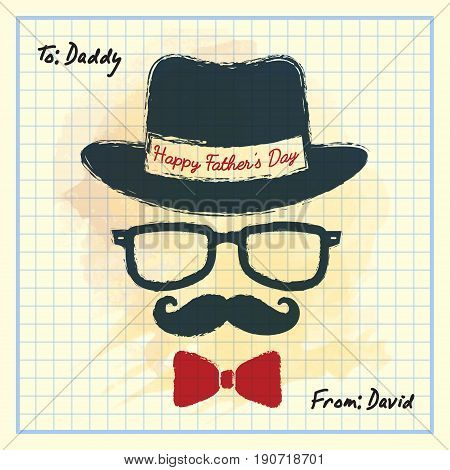 Happy Father's Day. Men face in retro hipster style with hat, eyeglasses, mustache and bow tie on square notebook paper. Hand drawing of vintage old men's accessories.