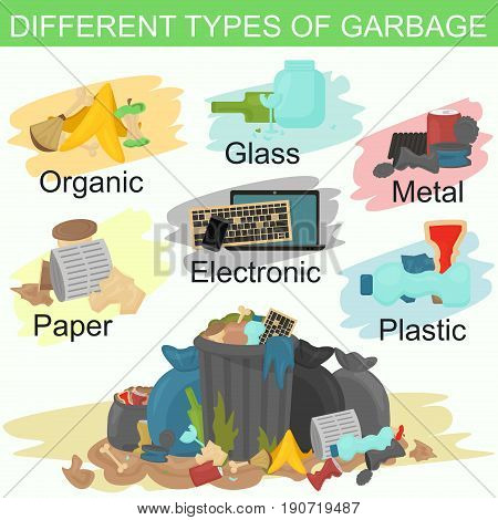 Vector illustration of sorting different types of garbage. Pile of smelling garbage lying around
