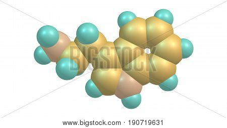 Tryptamine is a monoamine alkaloid. It contains an indole ring structure and is structurally similar to the amino acid tryptophan from which the name derives. 3d illustration