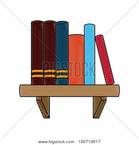 books shelf literature learn encyclopedia image vector illustration