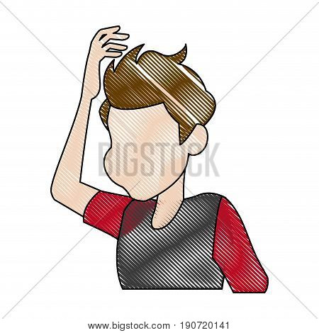 dizziness young man holding his head vector illustration